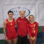 Bruce Mommers, Eddy Van Schevensteen en Katrien Braet , WK-Tumbling 2013 te Sofia, Bulgarije