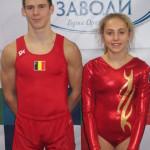 Bruce Mommers en Katrin Braet, WK-Tumbling 2013 te Sofia, Bulgarije