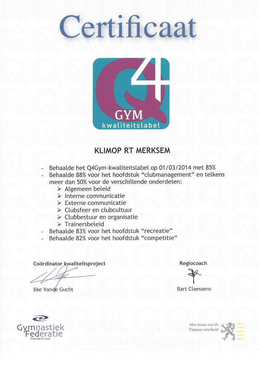 Q4Gym-certificaat